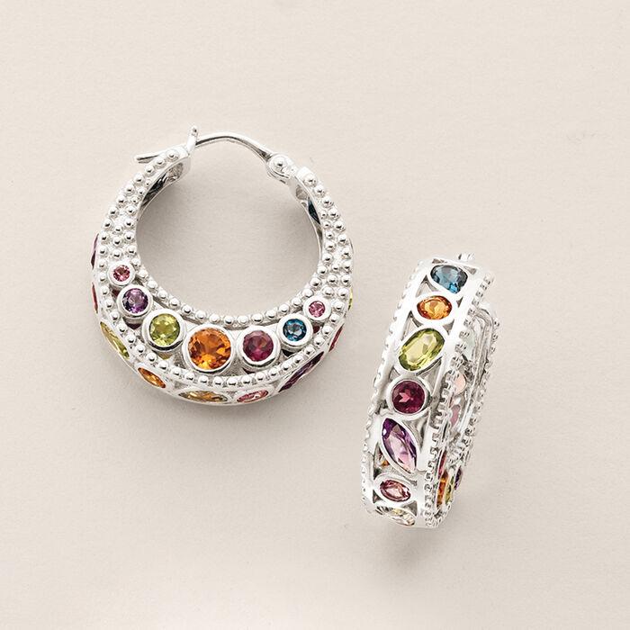 6.70 ct. t.w. Multi-Stone Hoop Earrings in Sterling Silver