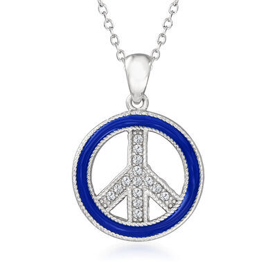Blue Enamel and .10 ct. t.w. White Topaz Peace Sign Pendant Necklace in Sterling Silver