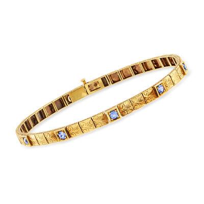 C. 1940 Vintage .65 ct. t.w. Sapphire Filigree-Link Bracelet in 14kt Yellow Gold