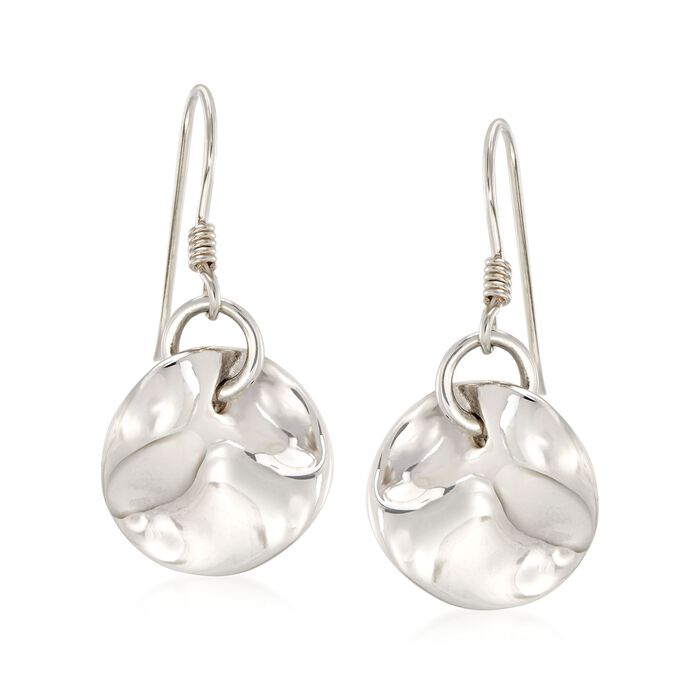 """Zina Sterling Silver """"Contemporary"""" Mobius Drop Earrings"""