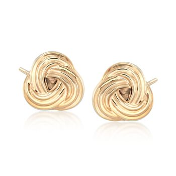 14kt Yellow Gold Love Knot Earrings , , default