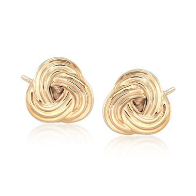 14kt Yellow Gold Love Knot Earrings, , default