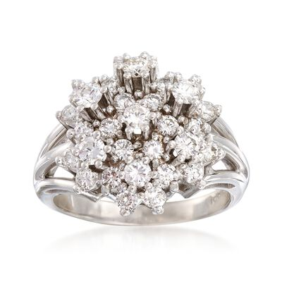 C. 1980 Vintage 2.00 ct. t.w. Diamond Cluster Ring in 14kt White Gold
