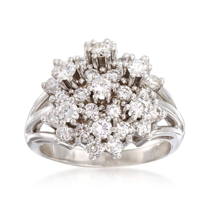 C. 1980 Vintage 2.00 ct. t.w. Diamond Cluster Ring in 14kt White Gold. Size 9.75, , default