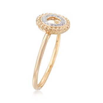 Diamond-Accented Open Circle Ring in 14kt Yellow Gold, , default
