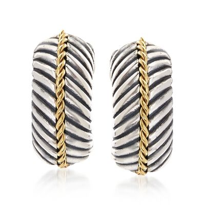 "Phillip Gavriel ""Italian Cable"" Sterling Silver and 18kt Gold Half Hoop Earrings , , default"