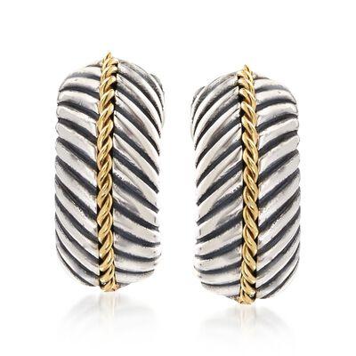 "Phillip Gavriel ""Italian Cable"" Sterling Silver and 18kt Gold Half Hoop Earrings , , default"