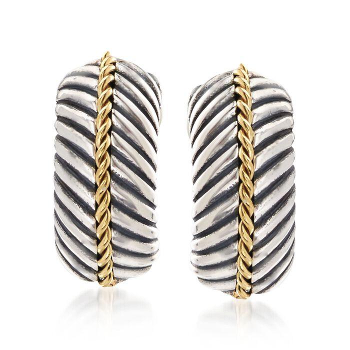 "Phillip Gavriel ""Italian Cable"" Sterling Silver and 18kt Gold Half Hoop Earrings. 1/2"", , default"