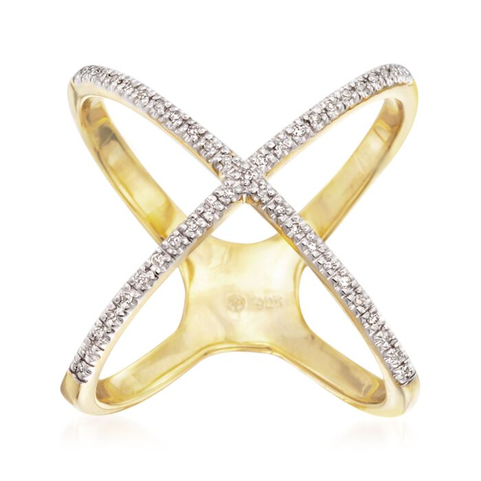 .14 ct. t.w. Diamond Crisscross Ring in 14kt Gold Over Sterling, , default