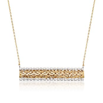 """.75 ct. t.w. CZ Byzantine Bar Necklace in 14kt Yellow Gold. 18"""", , default"""
