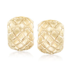 14kt Yellow Gold Quilted Clip-On Earrings, , default