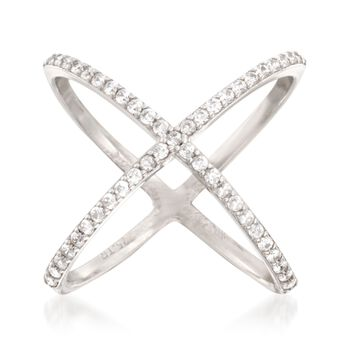 .70 ct. t.w. CZ Open Crisscross Ring in Sterling Silver, , default