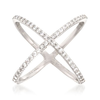 .70 ct. t.w. CZ Open Crisscross Ring in Sterling Silver, , default