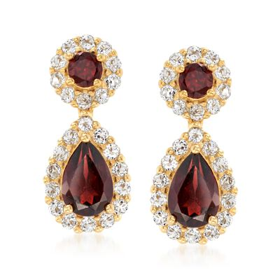 3.60 ct. t.w. Garnet and 1.40 ct. t.w. White Topaz Earrings in 18kt Gold Over Sterling, , default