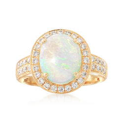 Oval Cabochon Opal and .59 ct. t.w. Diamond Ring in 14kt Yellow Gold, , default