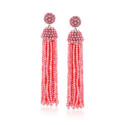 Pink Coral Bead Tassel Earrings in Sterling Silver, , default