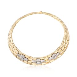 "C. 1990 Vintage 3.60 ct. t.w. Diamond Wide Geometric Collar Necklace in 18kt Yellow Gold. 14.5"", , default"
