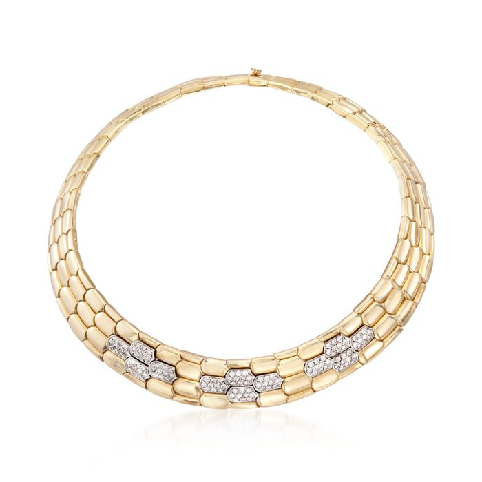 """C. 1990 Vintage 3.60 ct. t.w. Diamond Wide Geometric Collar Necklace in 18kt Yellow Gold. 14.5"""", , default"""