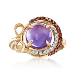 2.40 Carat Amethyst and .22 ct. t.w. Cognac and White Diamond Ring in 14kt Yellow Gold, , default