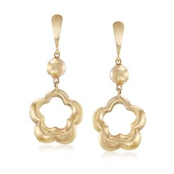 Italian 14kt Yellow Gold Open Space Flower Drop Earrings , , default