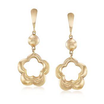 Italian 14kt Yellow Gold Open Space Flower Drop Earrings , , default