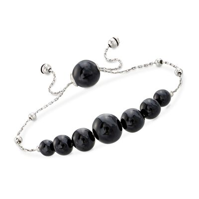 Graduated Black Onyx Bead Bolo Bracelet in Sterling Silver, , default
