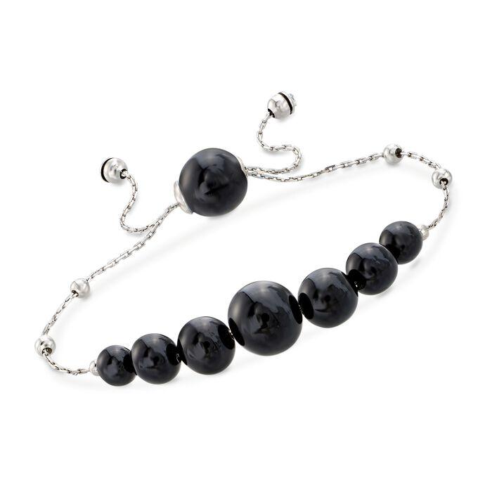 Graduated Black Onyx Bead Bolo Bracelet in Sterling Silver, , default