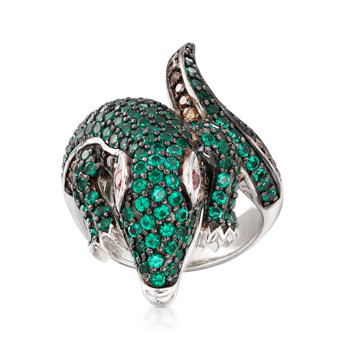2.30 ct. t.w. Multicolored CZ Alligator Bypass Ring in Sterling Silver, , default