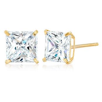 4.00 ct. t.w. Princess-Cut CZ Stud Earrings in 14kt Yellow Gold, , default