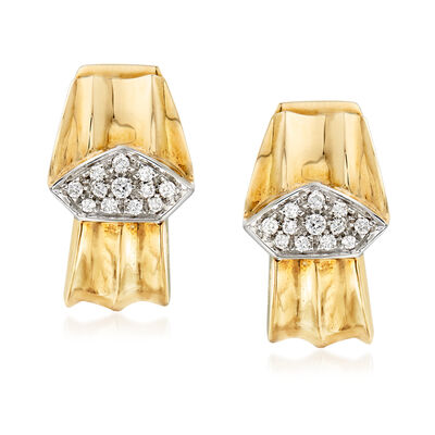C. 1980 Vintage .34 ct. t.w. Diamond Center Earrings in 18kt Yellow Gold, , default