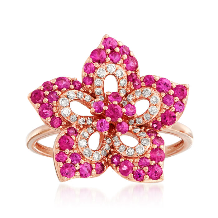 1.00 ct. t.w. Pink Sapphire and .20 ct. t.w. Diamond Flower Ring in 14kt Rose Gold