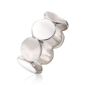 Italian Sterling Silver Brushed and Polished Discs Ring