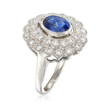 C. 2000 Vintage 1.85 Carat Sapphire and .90 ct. t.w. Diamond Ring in Platinum. Size 6.5, , default