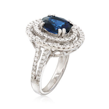 3.60 ct. t.w. Sapphire and .91 ct. t.w. Diamond Double Halo Ring in 14kt White Gold. Size 6.5, , default