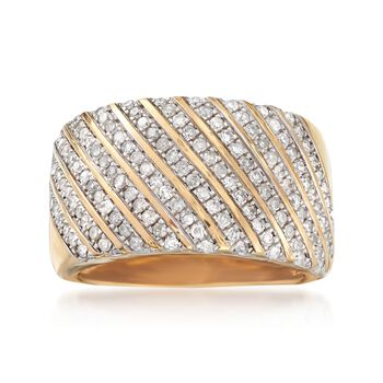1.00 ct. t.w. Diamond Diagonal Stripe Ring in 18kt Gold Over Sterling, , default