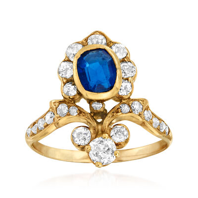 C. 1930 Vintage .95 Carat Sapphire and .80 ct. t.w. Diamond Floral Ring in 12kt Yellow Gold, , default