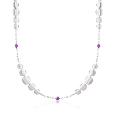 Sterling Silver Graduated Disc Necklace With 3.70 ct. t.w. Amethyst Beads, , default