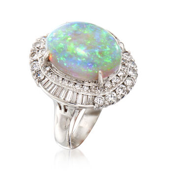 C. 1980 Vintage Opal and 1.65 ct. t.w. Diamond Ring in Platinum. Size 7.25, , default