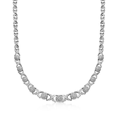 .50 ct. t.w. Diamond XO Necklace in Sterling Silver, , default