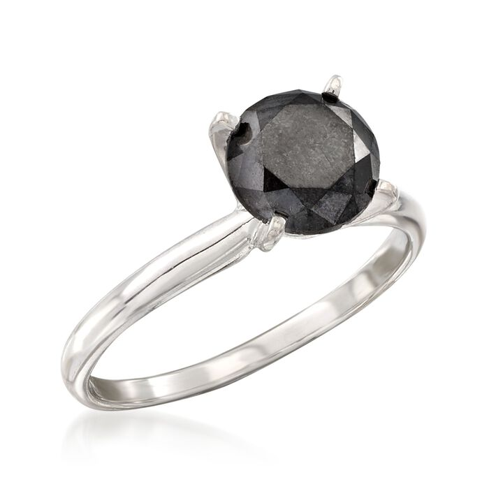 2.00 Carat Black Diamond Solitaire Ring in 14kt White Gold