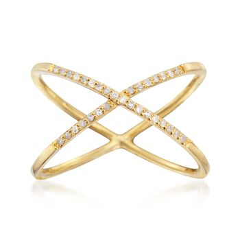 .10 ct. t.w. Diamond X Ring in 14kt Yellow Gold Over Sterling, , default