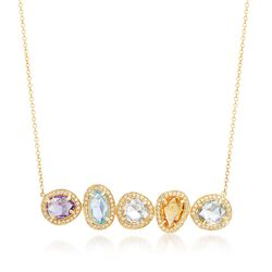 "3.80 ct. t.w. Multi-Stone and .33 ct. t.w. Diamond Line Necklace in 14kt Yellow Gold. 18"", , default"