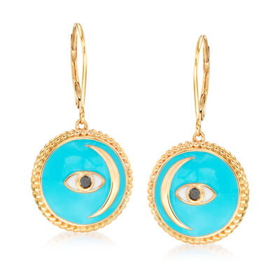 Black and Blue Enamel Evil Eye and Moon Drop Earrings in 18kt Gold Over Sterling