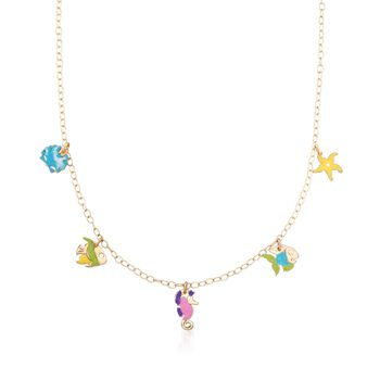 """Child's Multicolored Enamel Sealife Charm Necklace in 14kt Yellow Gold. 15"""", , default"""