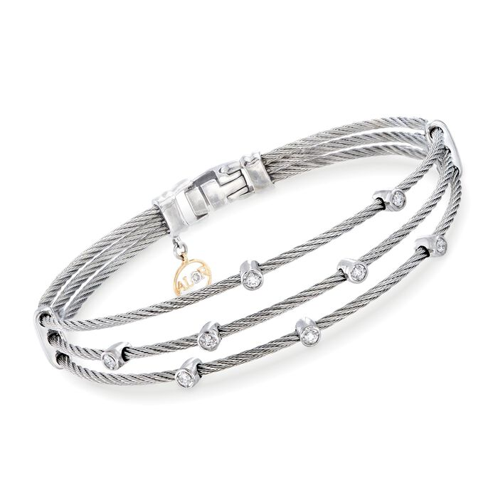 "ALOR ""Classique"" .18 ct. t.w. Diamond Gray Multi-Row Cable Bracelet with 18kt White Gold. 7"", , default"