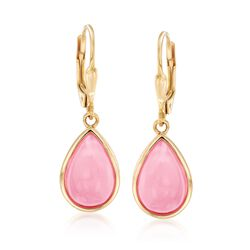 Pink Opal Teardrop Earrings in 18kt Gold Over Sterling, , default