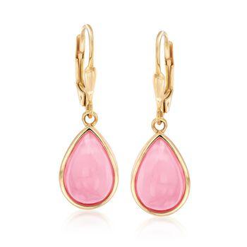 Pink Opal Teardrop Earrings in 18kt Gold Over Sterling, , default
