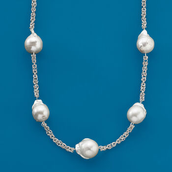 14-16mm Cultured Baroque Pearl Byzantine Station Necklace in Sterling Silver, , default