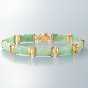 Green Jade Bar Bracelet in 18kt Gold Over Sterling, , default