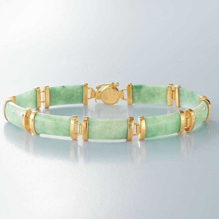 """Green Jade """"Good Fortune"""" Bracelet in 18kt Gold Over Sterling"""